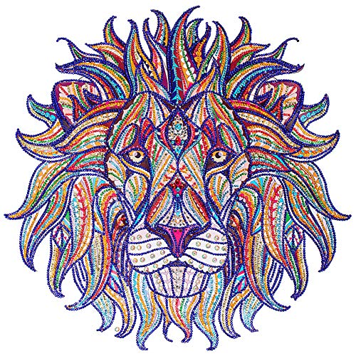 ing DIY 5D Special Shape Partial Drill Crystal Rhinestone by Number Kits Diamond Embroidery Pictures Arts Craft for Home Wall Decor Lion 44x44cm ()