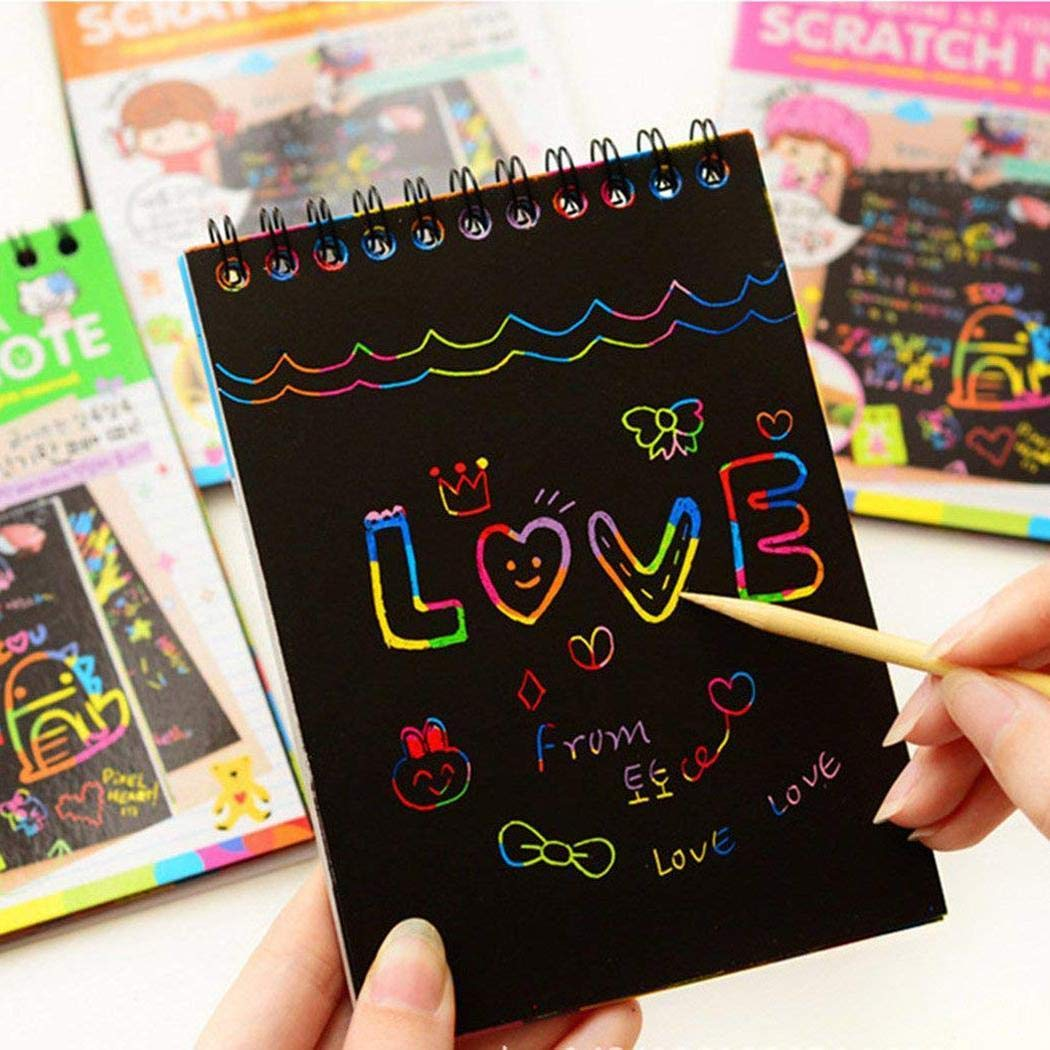 Sliwei Multicolor Drawing Writing Scratch Paper Notebook with Wooden Stylus for Kids Toy