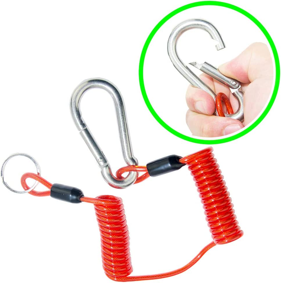 QWORK 6 Ft Breakaway Trailer Cable Trailer Brake Safety Cable Spring Towing Coiled Wire for RV Trailer Emergency