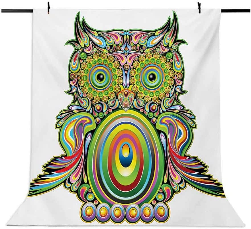 Ornate Colorful Owl with Elements Legend Eye Feather of Universe Psychedelic Artwork Background for Baby Shower Bridal Wedding Studio Photography Pictures Multi Owl 10x15 FT Photography Backdrop