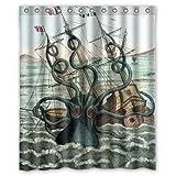 """cool kraken octopus pattern,Deep sea monster art decor 100% Polyester Shower Curtain (60"""" wide x 72"""" long)"""