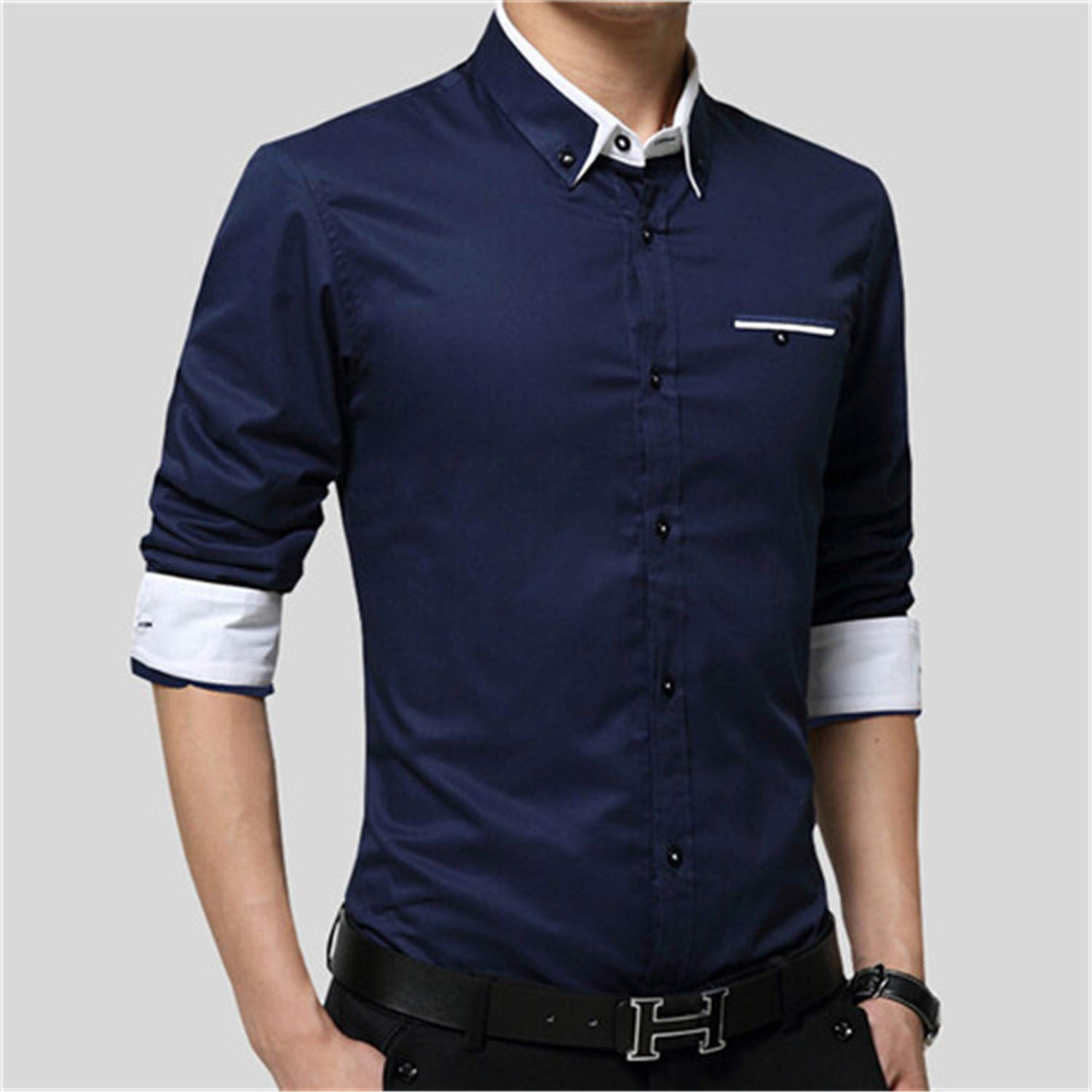 Susan1999 New Men Shirts Business Long Sleeve Turn-Down Collar 100/% Cotton Male Shirt Slim Fit Popular