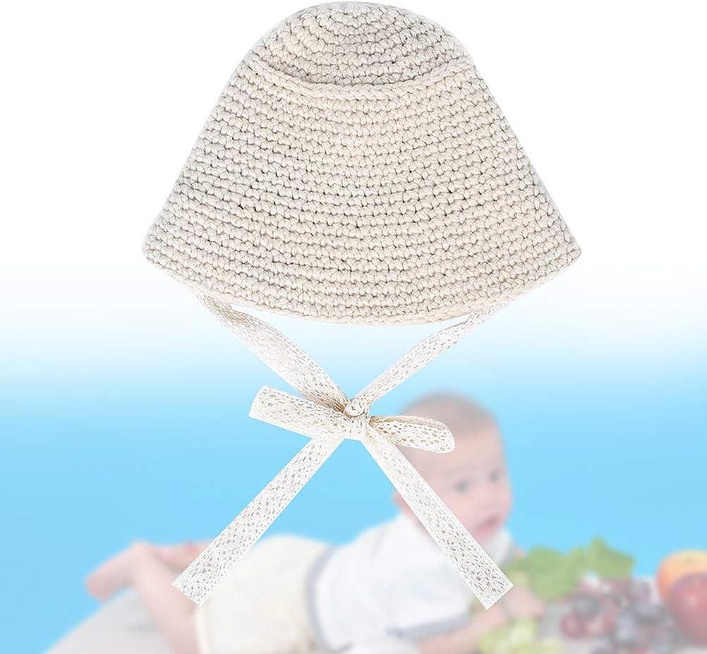 Beige Cute Warm Cap Hand-knitted Lace Hats Fisherman Autumn Winter Hats Foldable Wool Cap for Children Kids