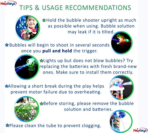 Haktoys Jurassic Dinosaur Bubble Gun Shooter Light Up Blower | Toy Bubble Blaster for Toddlers, Kids, Parties | LED Flashing Lights, Extra Refill Bottle, Sound-Free (Complimentary Batteries Included) by Haktoys (Image #6)