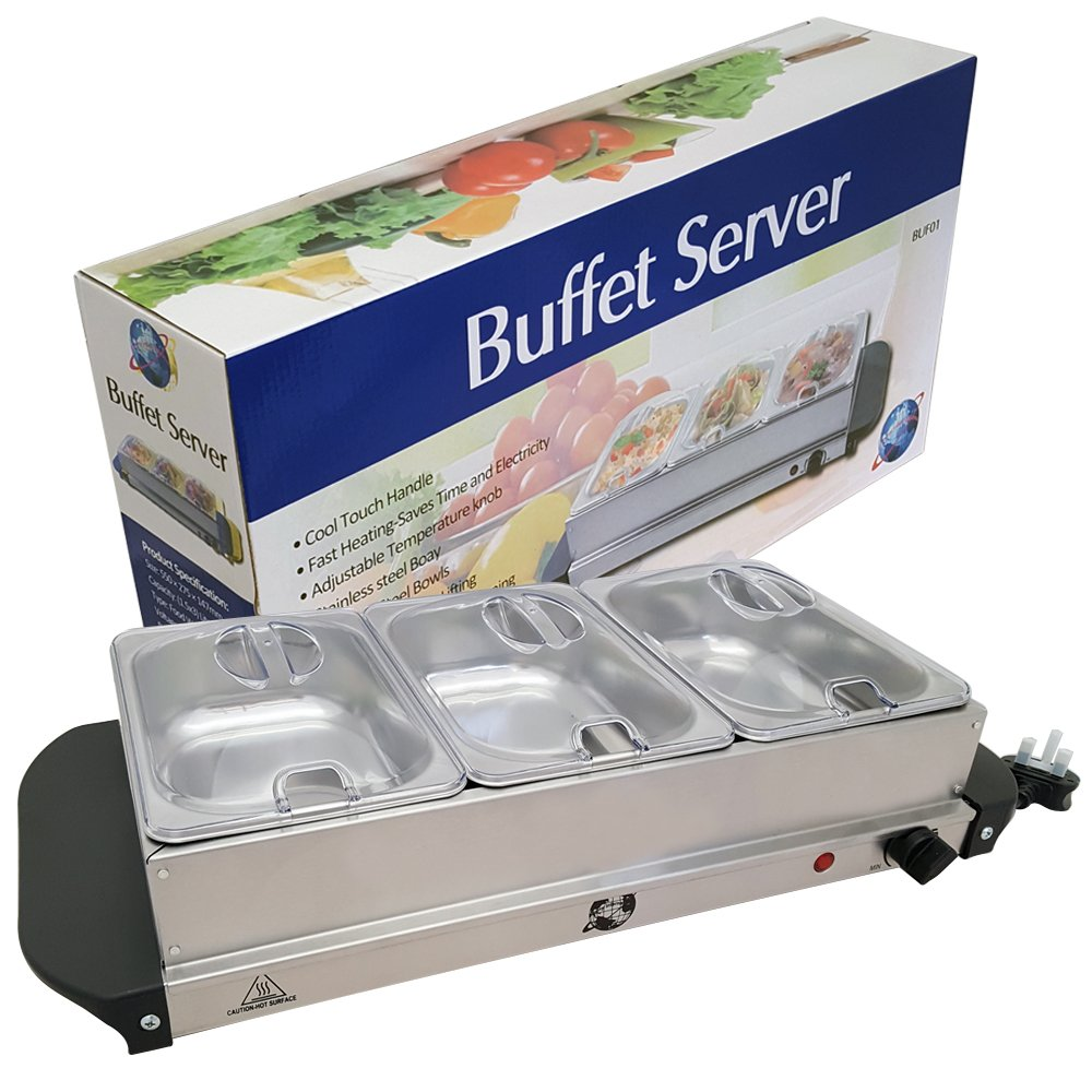Crystals 200W Stainless Steel Food Warmer 3 Pans Buffet Server With Adjustable Temperature Hot Plate Tray
