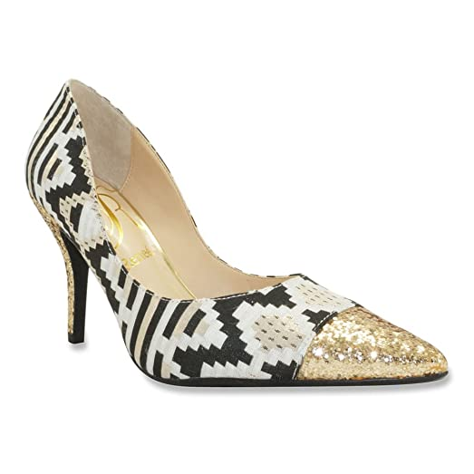 J. Renee Women's Ryenne Pump,Cream/Gold/Black Aztec Print Fabric/