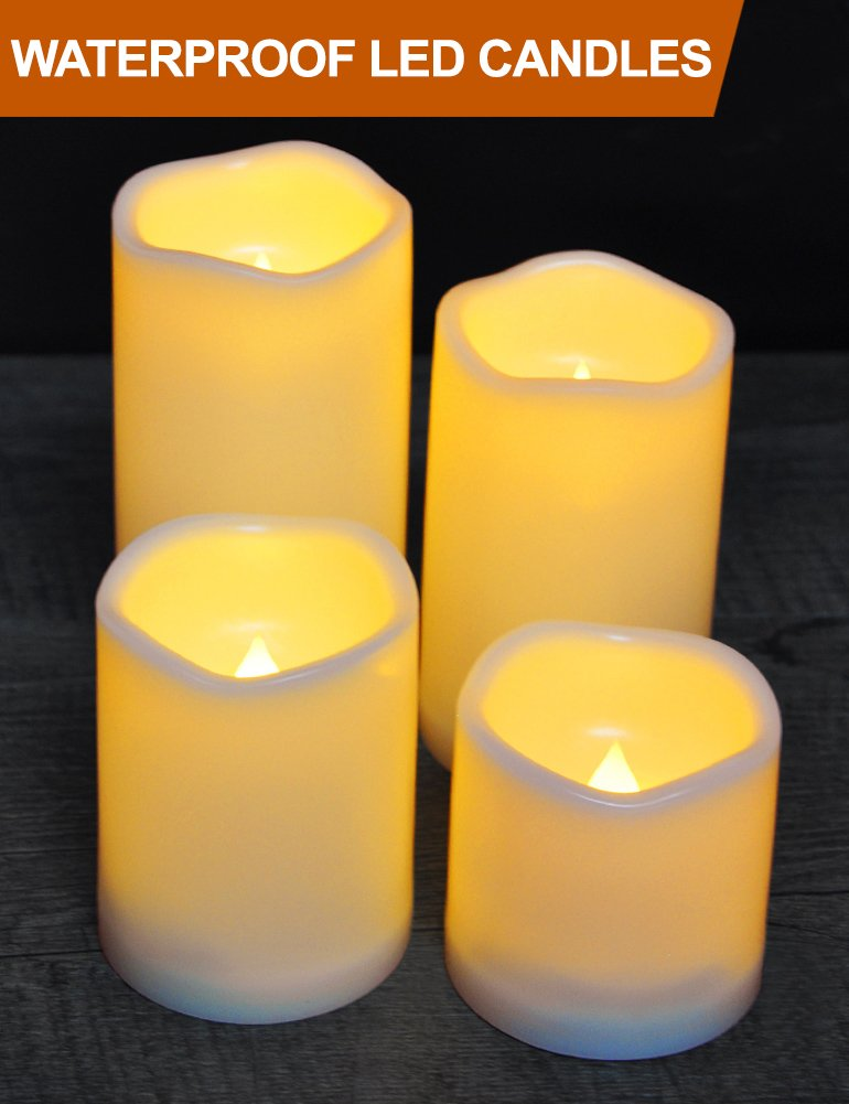 HOME MOST Set of 4 Waterproof LED Pillar Candles with Timer (CREAM, 3''/4''/5''/6'' Tall, Wavy Edge) - Outdoor Battery Candles Faux Candles Flickering Flameless Candles - LED Fake Candles Bulk Home Decor by HOME MOST