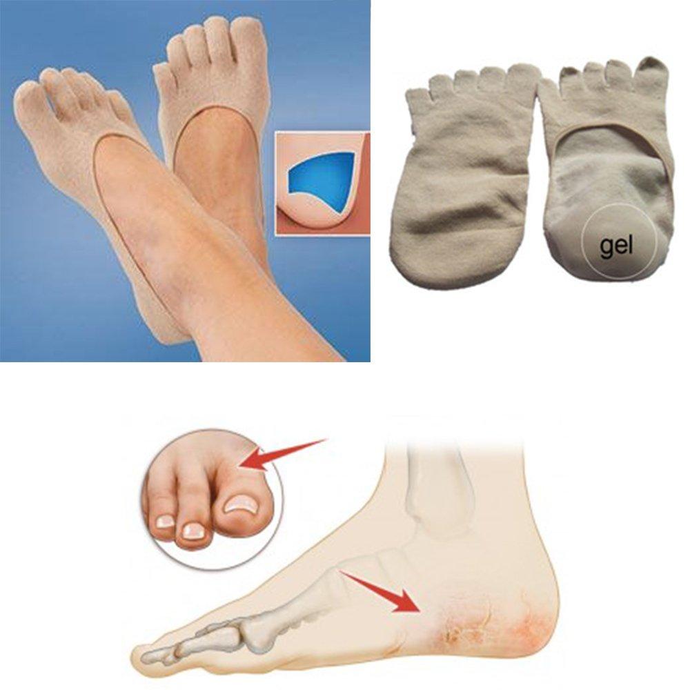 Moisturizing Skin Softening 5 Toe Spa Socks with Essential Oil Infused Gel Heels for Dry Cracked Feet Repair by JERN (1 Pair Spa Gel Heel Sock) - Tan color