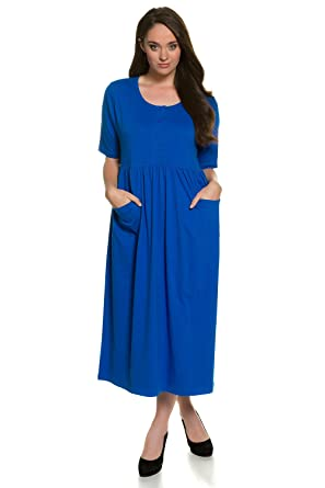 Ulla Popken Women S Plus Size Button Bodice Maxi Dress Lapis 16 18