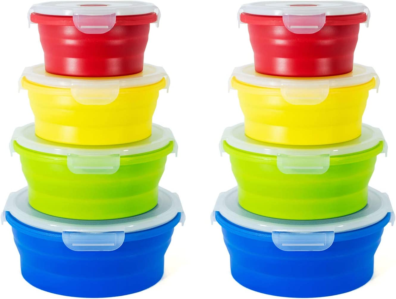 STOGO Collapsible Food Storage Containers- Set of 8 Leak Proof with Airtight Plastic BPA-Free Lids, for Kitchen Storage, Lunch Boxes, Meal Prep (2 Sets Round)