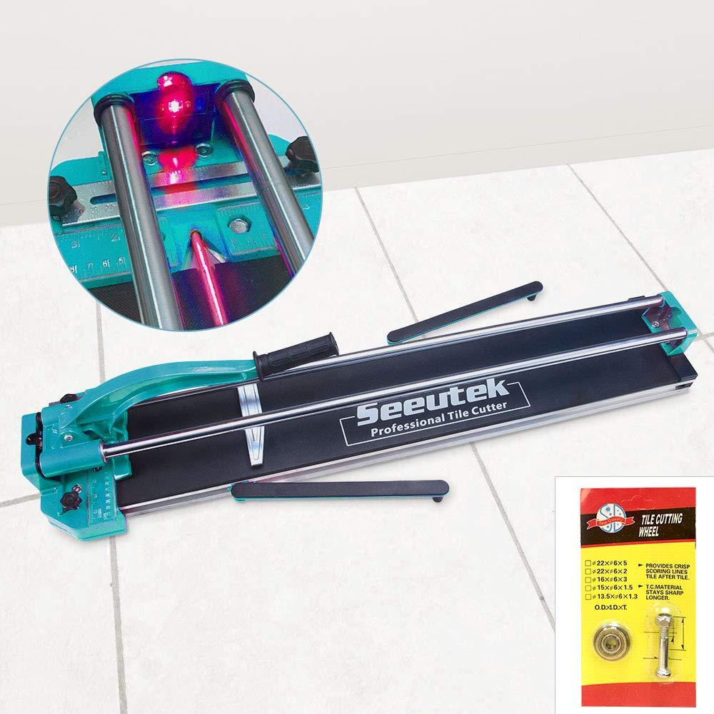 Manual Tile Cutter Tools for Porcelain Ceramic Floor Tile Cutter W/Adjustable Laser Guide (48 INCH Blue) by Seeutek