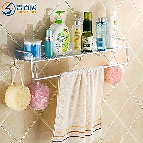 Accesorios de Baño MoomQe fácilmente para montar una buena decoración efecto aluminio espacio de tocador de toallas, 60cm de largo: Amazon.es: Hogar