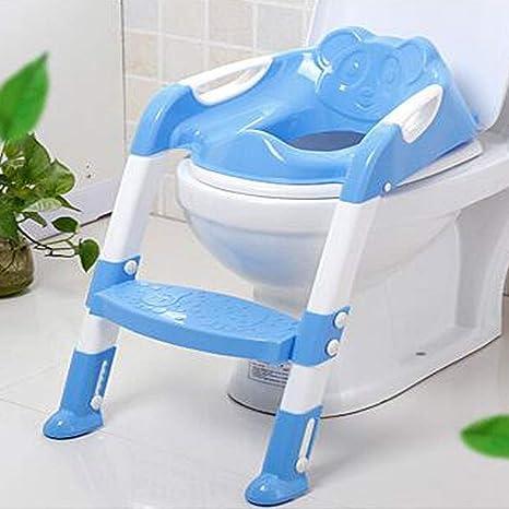 Asiento for inodoro con tapa de escalera Silla plegable for inodoro Asiento for inodoro for baño con taburete Escalera (azul): Amazon.es: Bebé