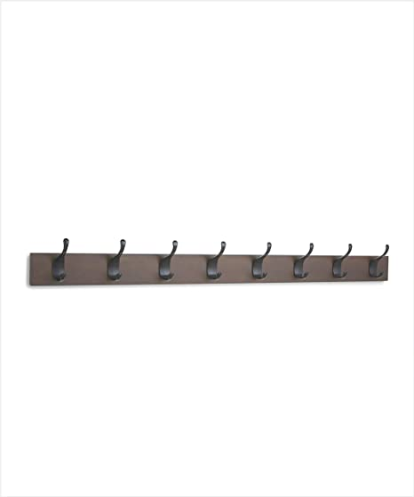 AmazonBasics - Perchero de pared, 8 ganchos modernos, Café ...