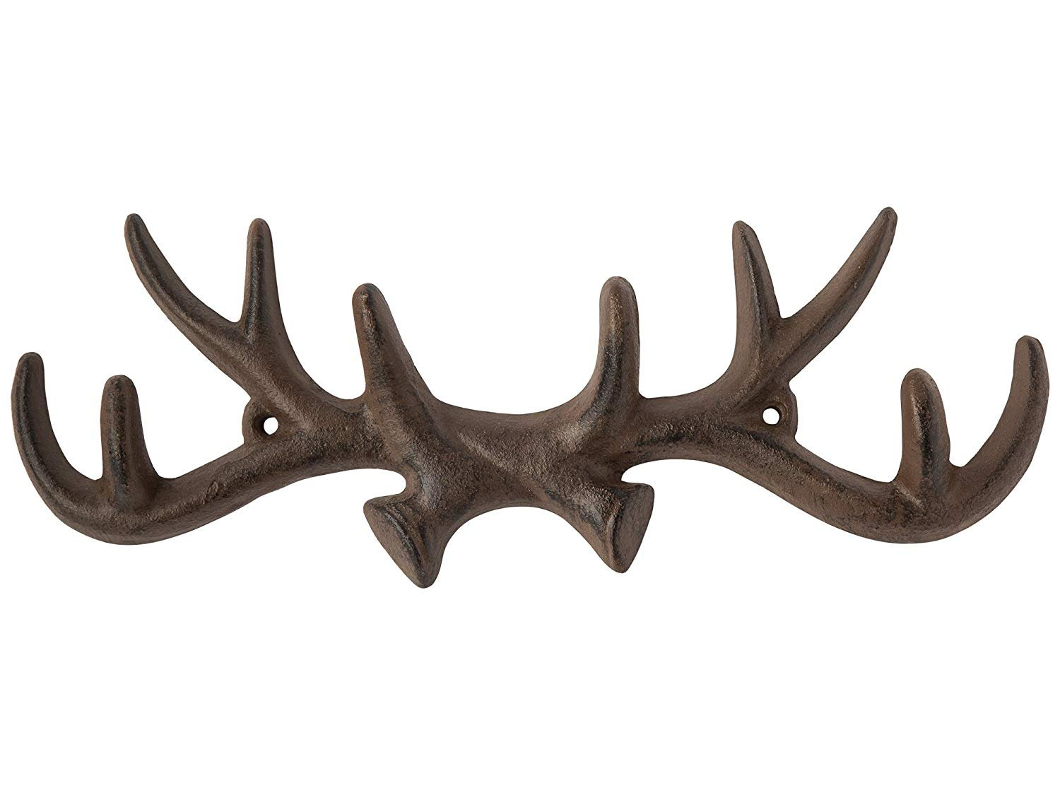 Vintage Cast Iron Deer Antlers Wall Hooks by Comfify | Antique Finish Metal Clothes Hanger Rack w/Hooks | Includes Screws and Anchors | in Antique White| (Antlers Hook CA-1507-25)