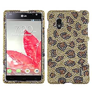 Brown Leopard Bling Gem Jeweled Crystal Cover Case for LG Optimus G E970 A46Z