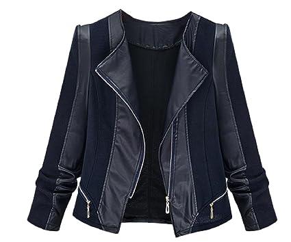 731a1e3034 Zimaes-Women Racer Plus Size Knit Faux Leather Bomber Jackets at Amazon  Women s Coats Shop