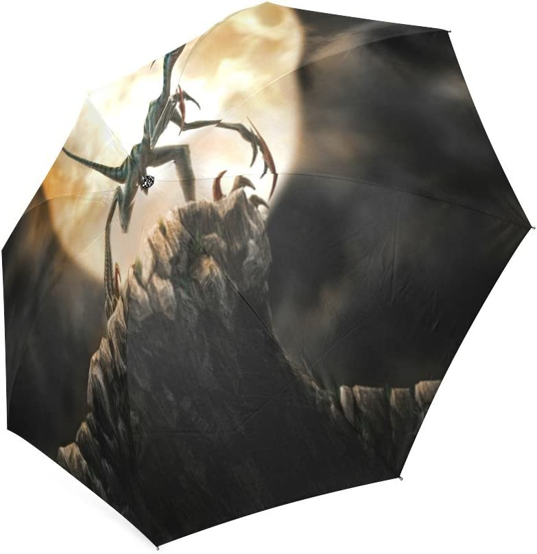 Custom Cool dinosaurs with moon Compact Travel Windproof Rainproof Foldable Umbrella