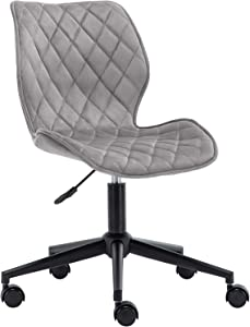 Duhome Velvet Modern Home Office Chair Desk Chair Armless Mid Back Mid Century Modern Adjustable Swivel Computer Chair Metal Base and Black Wheels Ergonomic Design Grey 1 PCS