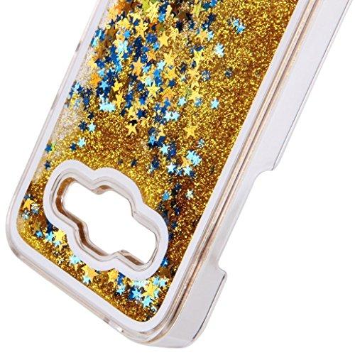 Vandot Funda Dura Bumper Case Cover Carcasa para Samsung Galaxy J5 2015 J500 (NO para Galaxy J5 2016 J510) 3D bling Funda Carcasa Duro Tapa Case Cover teléfono móvil caja protectora dura Colorido Chic Oro Gold