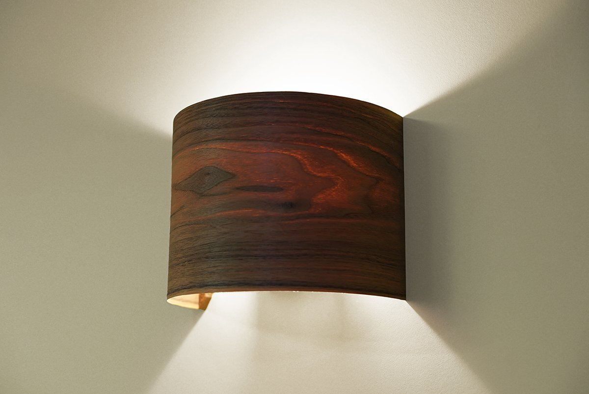 Amazon Com Hallway Wall Light Fixture Wall Lamp Walnut Arc Wood Veneer Lamp Shade Handmade
