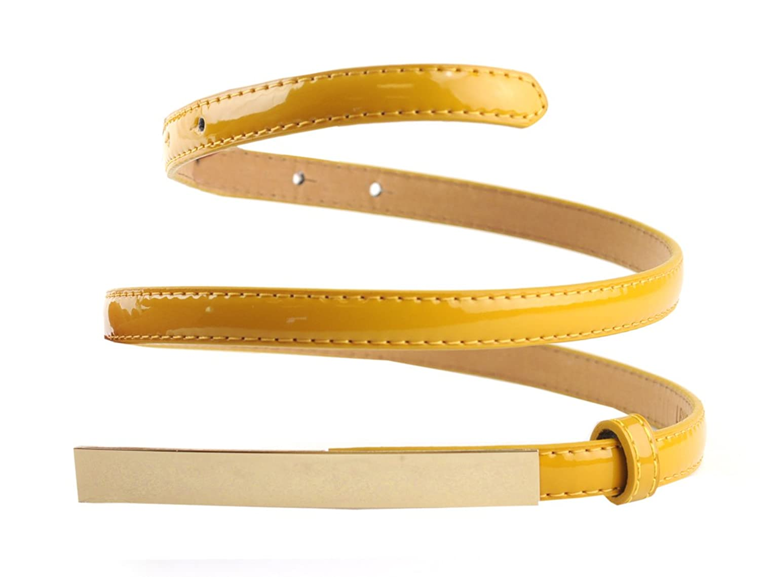 NYFASHION101 Women's Solid Color Skinny Push Pin Belt w/ Gold-Tone Metal Accent
