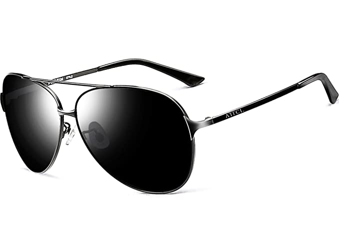 cf2fb955e10 ATTCL® Men s Hot Classic Aviator Polarized Sunglasses For Men Golf Driving  8009 Black