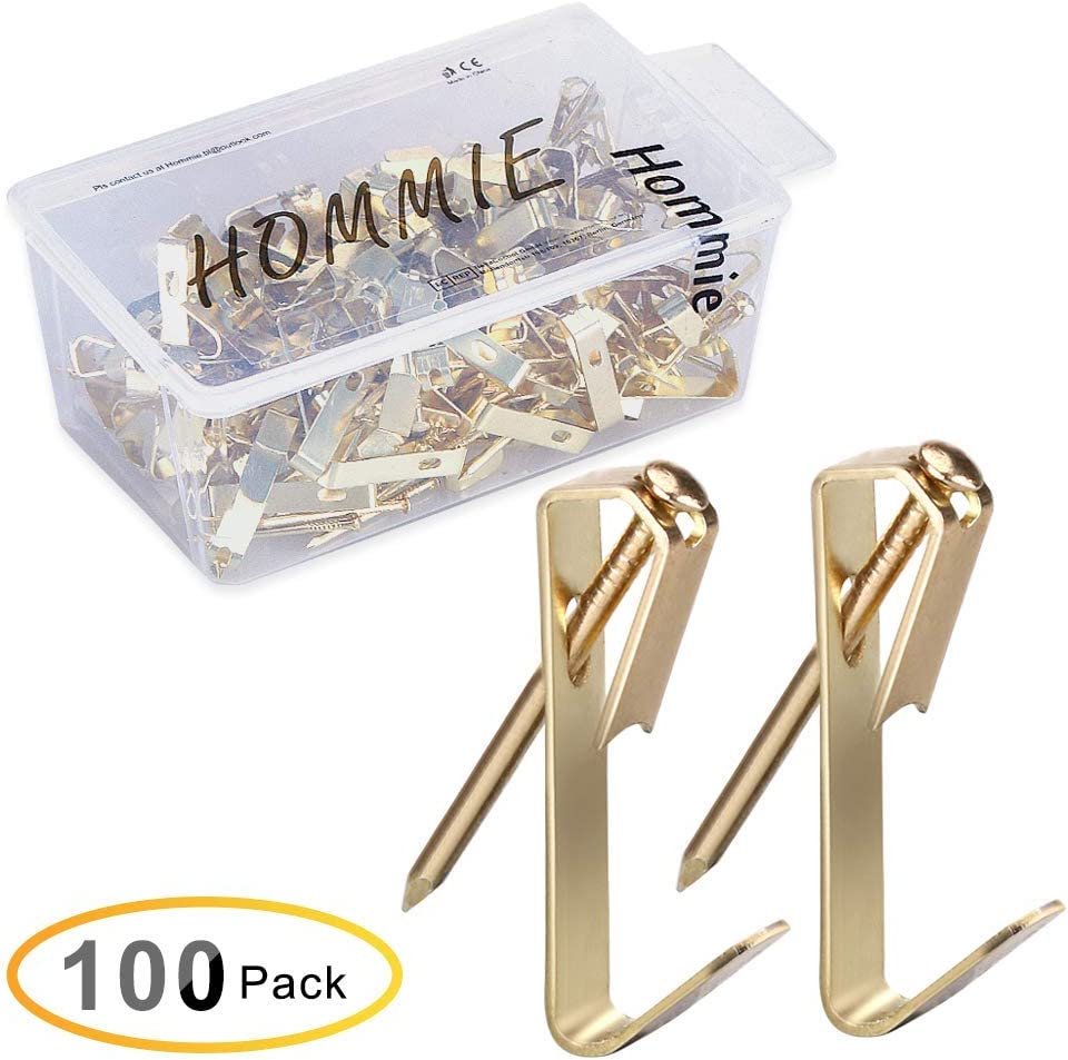 Hommie 100 Pcs Heavy Duty 30lbs Picture Hangers with Nails Photo Picture Frame Hooks Professional Picture Hanging Kit on Wooden/Drywall Hanging Solution Hardware for Canvas,Office,Clock,Mirror(30LB)