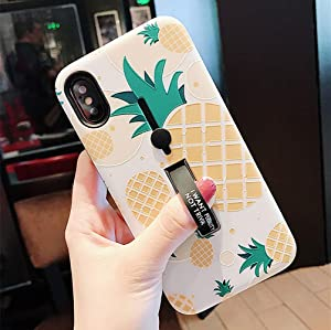 iPhone 8 Plus/7 Plus Case Finger Grip,3D Embossed Pineapple Cute Design Rugged Shockproof Slim Fit Dual Layer Finger Ring Loop Strap Case Finger Strap iPhone 8 Plus/7 Plus 5.5 inch
