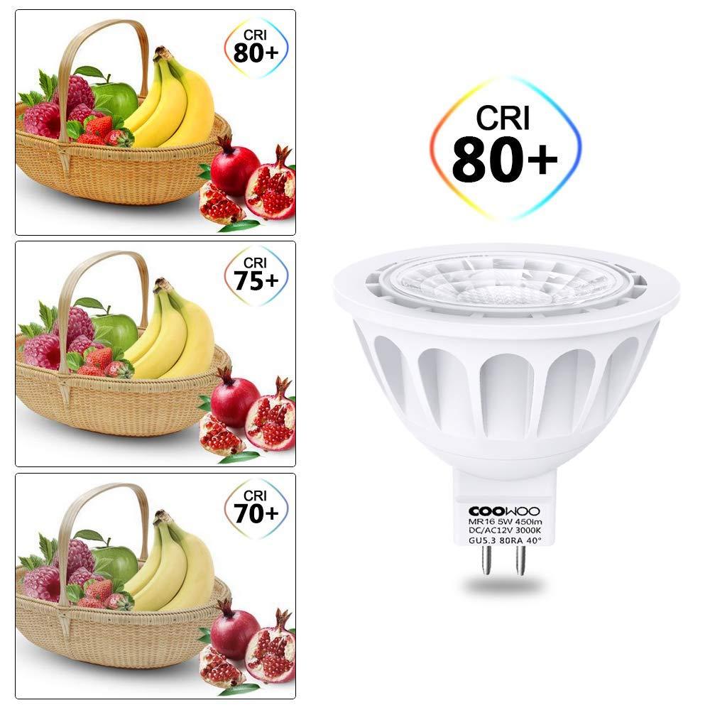 Classe /énerg/étique A+++ GU 5.3 Lot de 6 LED MR16 Ampoule 5W halog/ène blanc neutre 100-240 V Coowoo 4000K 450lm