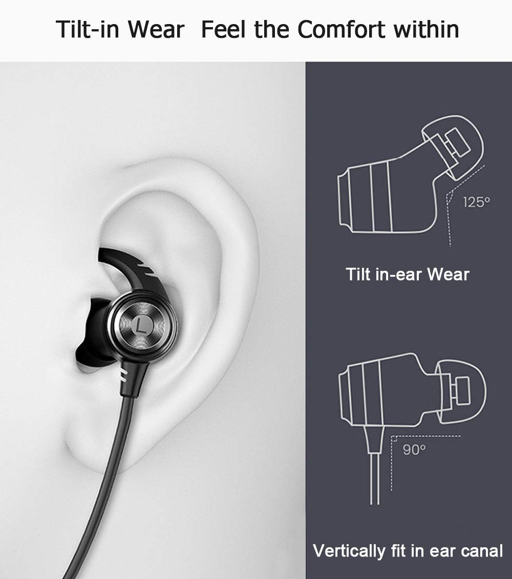 SLUB True Wireless Bluetooth Waterproof Sport HD Stereo Neckband Headphones with Mic 36H Play time Sweatproof for Cell Phone Double Battery Earbuds foriPhone/Android (Black)