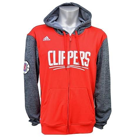 Adidas Rojo Gris de los Angeles Clippers NBA Juventud Pregame Full Zip Sudadera con Capucha,