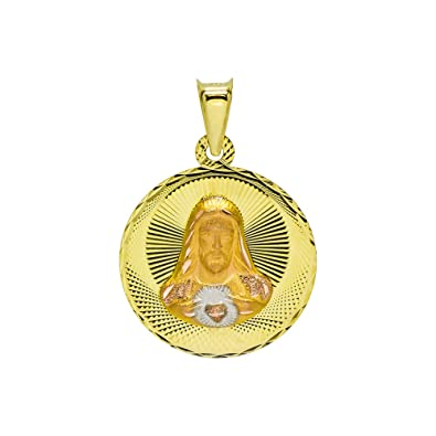 amazon 14 k 3色ゴールドsacred heart of jesus and virgin mary