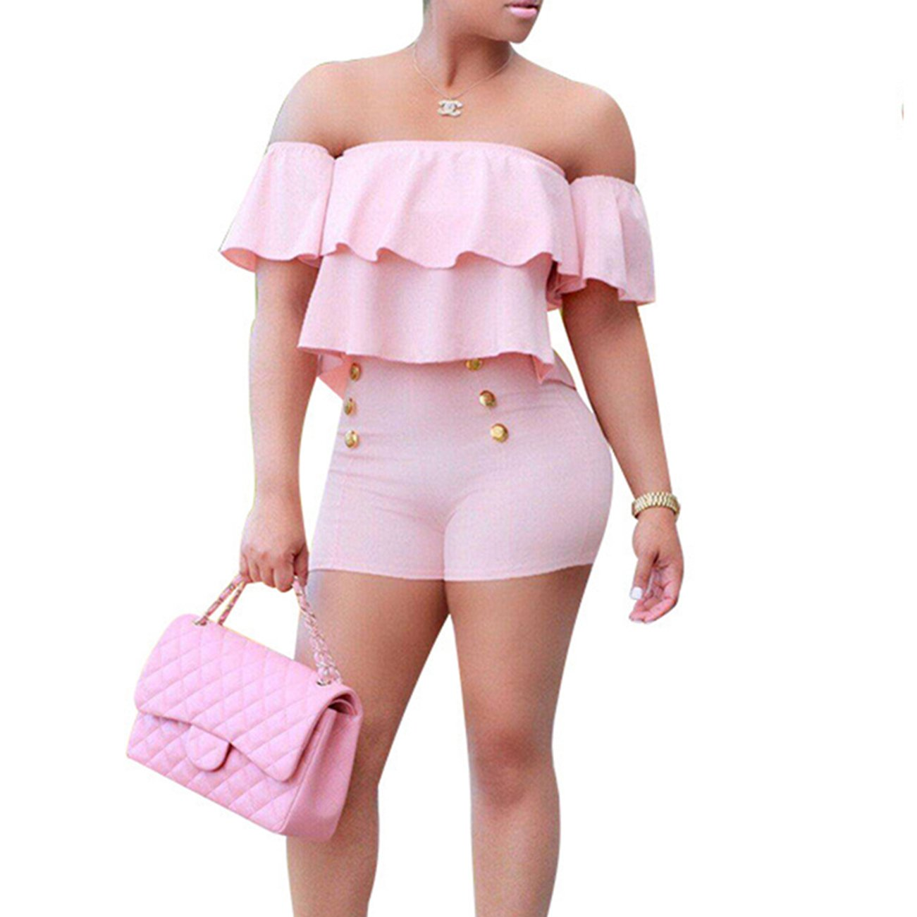 Vilover Women's Sexy Off Shoulder Ruffle Short Romper Jumpsuit Pink L