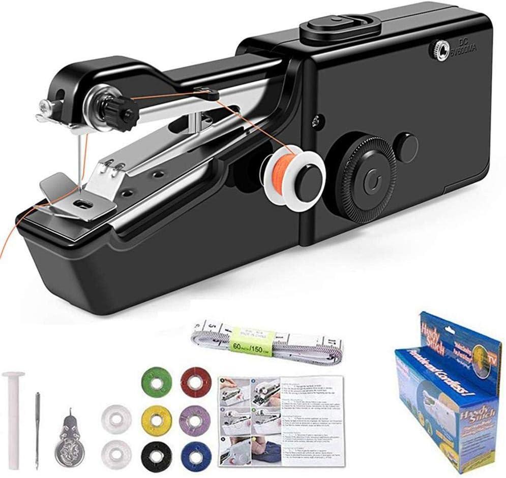 Máquina de coser portátil de bolsillo pequeña máquina de coser de mano para viajeros, adultos, principiantes, niños, emergencias, bricolaje, hogar - Kit negro 2