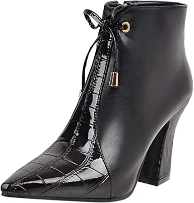 Womens Stylish Studded High Stacked Heel Short Boots Dressy Square Toe Ankle Booties with Zipper