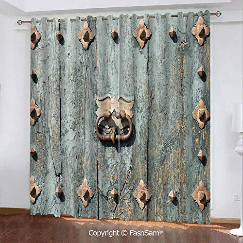 FashSam Printed Blackout Curtains European Cathedral with Rusty Old Door Knocker Gothic Medieval Times Spanish Style Decorative Printed Curtain for Living Room(84