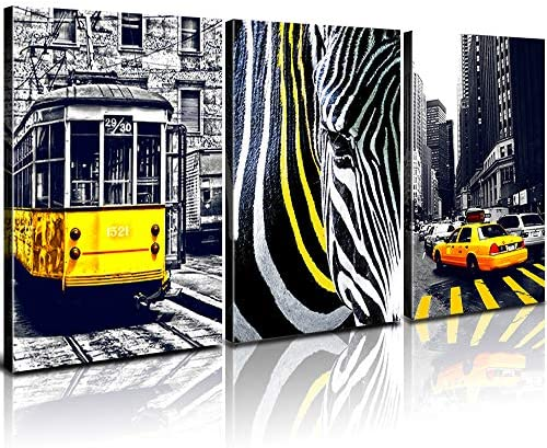 Canvas Wall Art Paris Black and White Wall Decor Living Room Yellow Bus Taxi Zebra Crossing Prints Painting Artwork 30″ 40″ 3 Pieces London Bridge City Building Pictures Modern Home Decoration