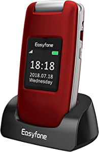 Easyfone Prime A1 3G Senior Unlocked SIM-Free Flip Mobile Phone, Big Button Hearing Aids Compatible Easy-to-Use Mobile Phone with Charging Dock (Red)
