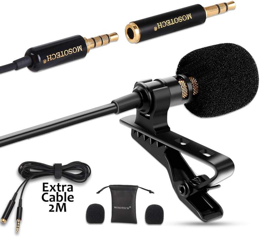 MOSOTECH Microfono Solapa, Omnidireccional Lavalier Microfono de Condensador con 2m (79
