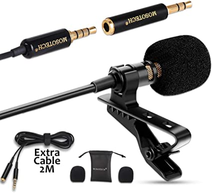MOSOTECH Microfono Solapa, Omnidireccional Lavalier Microfono de ...