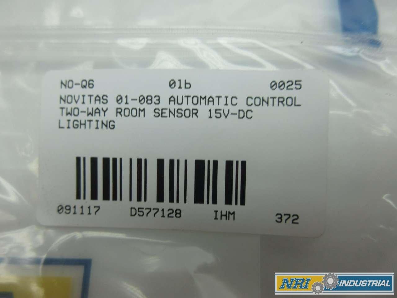 NOVITAS 01-083 AUTOMATIC LIGHTING CONTROL TWO-WAY ROOM SENSOR 15V-DC ...