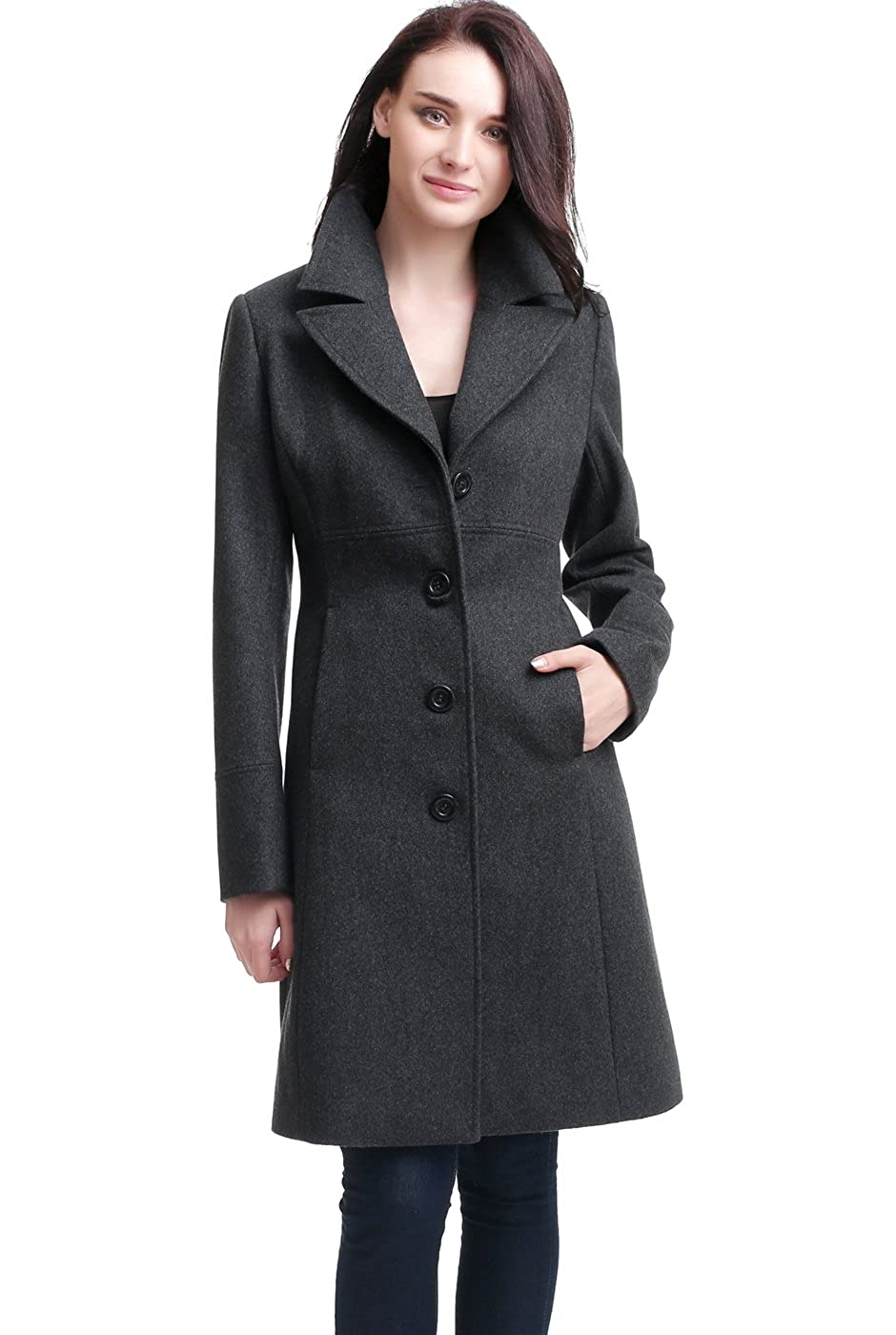BGSD Women's 'Joan' Wool Blend Walking Coat (Regular & Plus Size)
