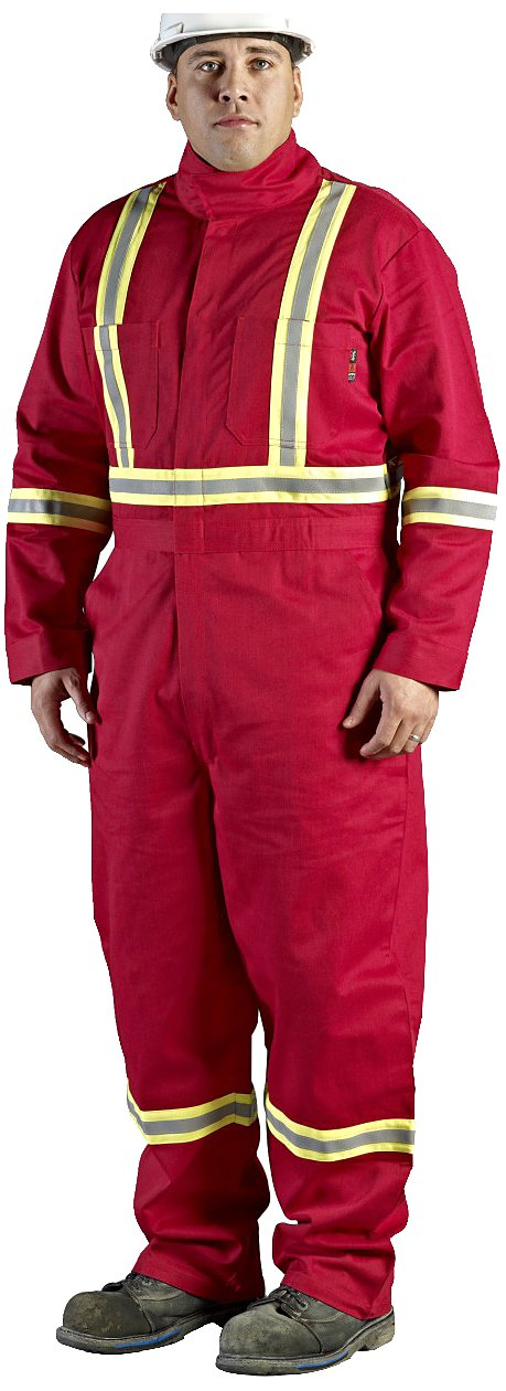 Walls Red 9-Ounce FR 88/12 Striped Coverall, HRC 2, ATPV, 12.7 cal/cm2, CGSB 155.20, CSA Z462, NFPA 2112, NFPA 70E and ASTM F1506 50R Walls FR C62045R29 50R
