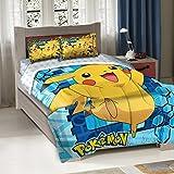 3 Piece Blue Yellow Pokemon Big Pikachu Twin/full Bedding Comforter Set, Cute Bold Bright Geometric Anime Cartoon Pattern, Reversible Pokemon Ball White Blue Sky Kids Bedding For Bedroom,