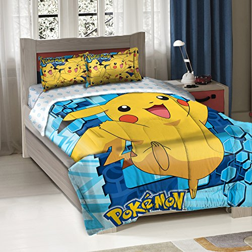 Price comparison product image 3 Piece Blue Yellow Pokemon Big Pikachu Twin/full Bedding Comforter Set, Cute Bold Bright Geometric Anime Cartoon Pattern, Reversible Pokemon Ball White Blue Sky Kids Bedding For Bedroom,