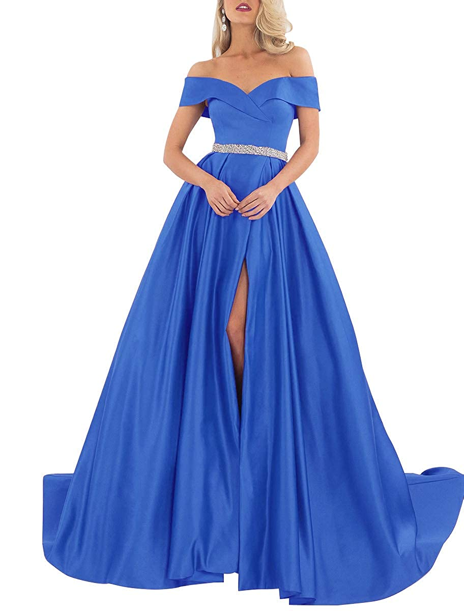 bluee Homdor Off Shoulder Prom Dresses Long ALine Beaded Satin Ball Gowns for Women Formal