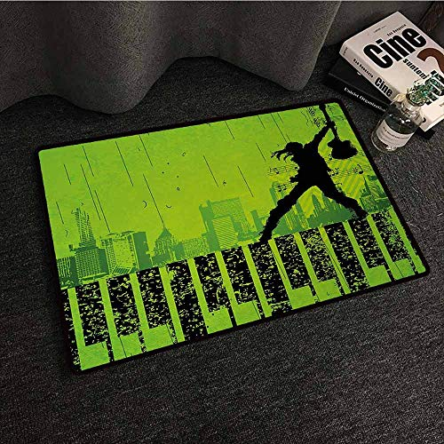 DILITECK Interesting Doormat Popstar Party Music in The City Theme Singer with Electric Guitar on Grunge Backdrop Suitable for Outdoor and Indoor use W16 xL24 Lime Green Black
