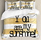 Quote Duvet Cover Set King Size by Ambesonne, Big Greeting Love Text on Crossed Positive Philosophy Life Emotion Graphic Design, Decorative 3 Piece Bedding Set with 2 Pillow Shams, Black Gold