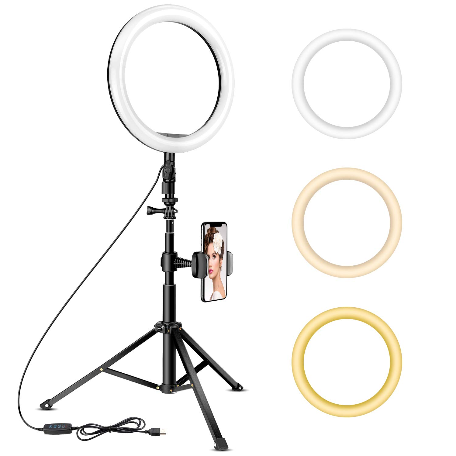 10.2'' Ring Light with Tripod Stand - Rovtop LED Camera Selfie Light Ring with iPhone Tripod and Phone Holder for Video/Photography/Makeup/Live Streaming, Compatible with iPhone and Android Phone